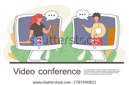 Videoconferencing, online meeting workspace. Video call chat conference illustration. Woman and man speaking over web camera communicating at distance. People on computer screen talking with colleague