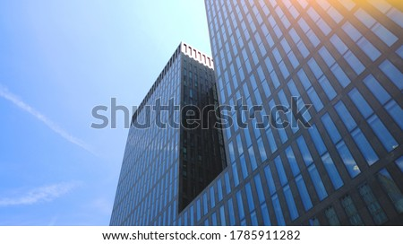 Switzerland: Zurich financial district, building with big glass windors. Bank offices. Corporate/finance concept image. Royalty-Free Stock Photo #1785911282