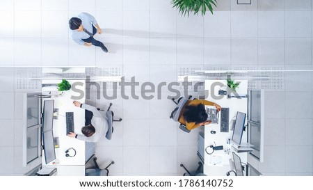 Top Down Shot of Big Busy Corporate Office with Two Rows off Businessmen and Businesswomen Working on Desktop Computers. Bright Open Space Office with Businesspeople and Salespeople