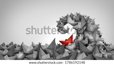 Trouble concept as a business symbol as a paper boat climbing uphill as a metaphor for struggle and overcoming obstacles and competition strategy. Royalty-Free Stock Photo #1786192148