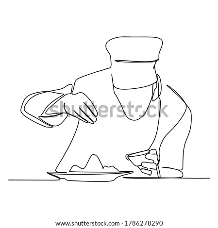 A chef pours condiments to the dish and do the garnishing. Continuous one line drawing. Vector illustration Royalty-Free Stock Photo #1786278290