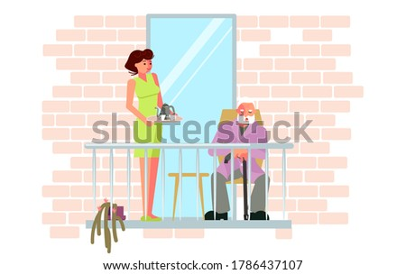 A young woman brought a tray of tea for her grandfather on the balcony. Relax and have a good time during the coronavirus pandemic. Flat Art Rastered Copy
