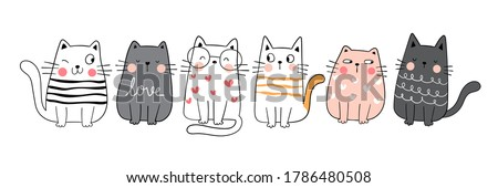 Draw vector illustration character collection cute cat.Doodle cartoon style. Royalty-Free Stock Photo #1786480508