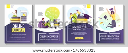 Set of flyers for Studying, training, education, e-learning, courses, university, graduating. People studying at home, graduate caps and books. A4 vector illustration for poster, banner, advertising. Royalty-Free Stock Photo #1786533023