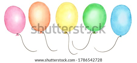 Rainbow watercolor balloons isolated on a white background. Hand painted watercolor balloons set. Air balloons of a red (pink), orange, yellow, green and blue colors. A bunch of multicolor ballons.