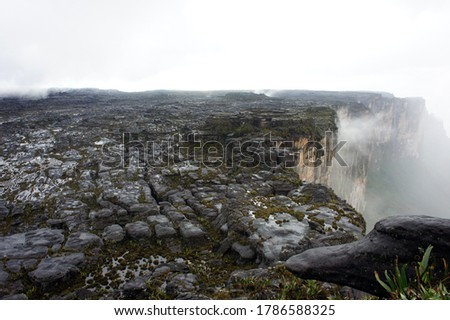 View of rocky surface and cloudy atmosphere in Mount Roraima (Canaima National Park, Venezuela)  #1786588325