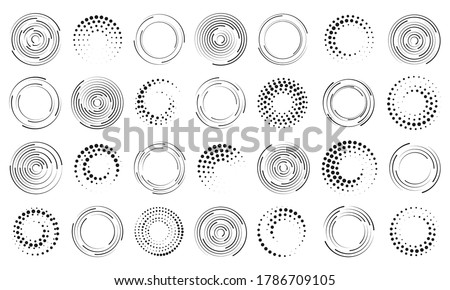 Set of black thick halftone dotted speed lines. Speed lines in circle form. Geometric art. Design element for frame, logo, tattoo, web pages, prints, posters, template, abstract vector background. Royalty-Free Stock Photo #1786709105