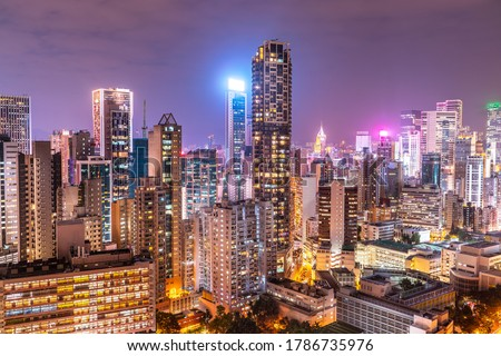The amazing night and sunset view of cityscape and skyscrapers in Hong-Kong Royalty-Free Stock Photo #1786735976
