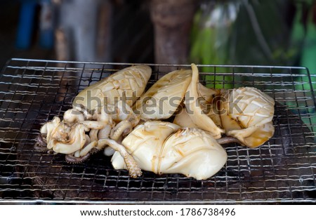 Grilled Cuttlefish on a charcoal stove. Grilled squid is very tasty.Can found at street food,Thailand. BBQ Grill On Hot Charcoal.Grilled fresh squid on a grill with charcoal grill. #1786738496