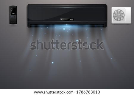 Black air conditioner with cold wind effect #1786783010