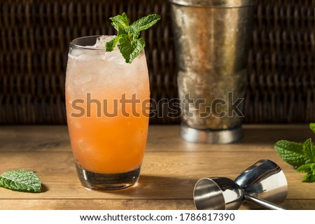 Refreshing Sweet Planters Punch Tiki Cocktail with Mint Royalty-Free Stock Photo #1786817390