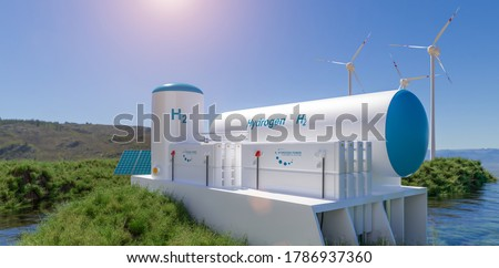 Hydrogen renewable energy production - hydrogen gas for clean electricity solar and windturbine facility. 3d rendering. #1786937360