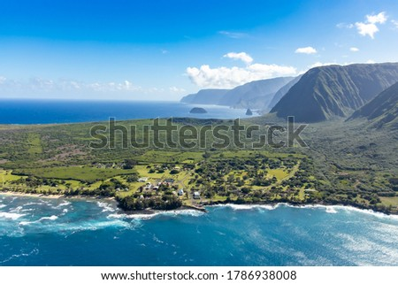 Aerial View of Kalaupapa National Historic Park,Kalaupapa,  Molokai, Hawaii, USA Royalty-Free Stock Photo #1786938008