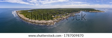 Halibut Point State Park and grainy quarry aerial view panorama and the coast aerial view in town of Rockport, Massachusetts MA, USA.