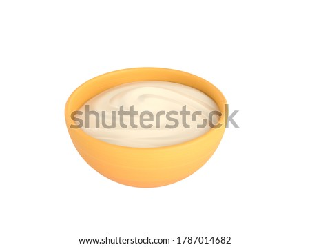 Yogurt Bowl in 3D rendering.