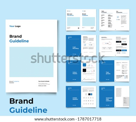 Brand Identity Guideline Template Brand Style Guide Brochure Layout Brand Book Branding Guideline Royalty-Free Stock Photo #1787017718