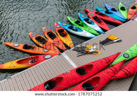 Kayaks park at Boston Harbor in Massachusetts, USA. Royalty-Free Stock Photo #1787075252