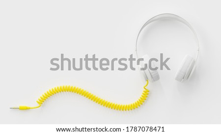 White headphones with yellow cable. Clipping path and copy space for your text. minimal idea concept, 3d render.