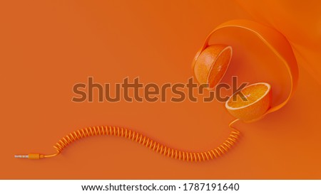 Orange headphone with clipping path and copy space for your text. Minimal idea concept, 3D Render.