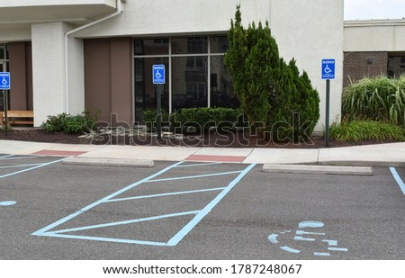 Handicapped spaces in office parking lot