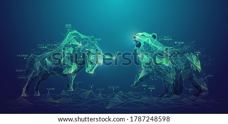 concept of stock market exchange or financial technology, polygon bull and bear with futuristic element Royalty-Free Stock Photo #1787248598