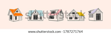 Various Outline Small and tiny houses. White walls, black windows. Colorful roofs. Different facades. Scandinavian style. Hand drawn Vector set. Every building is isolated