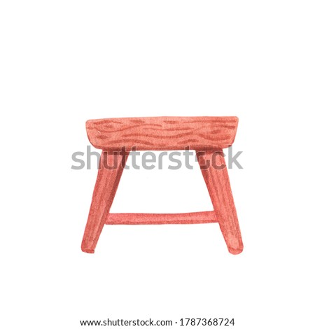Wooden table watercolor illustration on white background. Rustic simple furniture for cozy home. Ecological living interior detail. Countryside decor handdrawn element. Living room table or stool