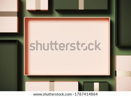Minimal product background for Christmas, New year and sale event concept. Beige and green gift box on beige background. 3d render illustration. Clipping path of each element included.