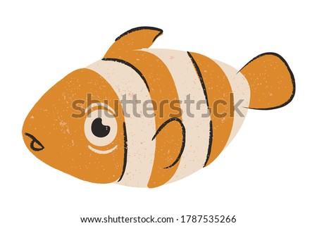 Bright Ocellaris clownfish Isolated on a white background. Beautiful funny cartoon character.Cute nemo fish illustration for children.