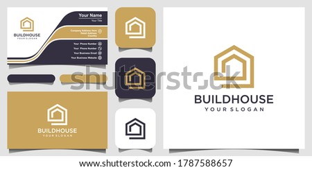 build house logo design with line art style. home build abstract For Logo and business card design Royalty-Free Stock Photo #1787588657