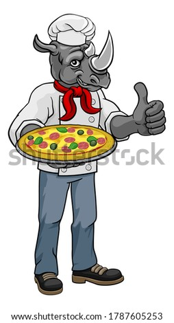 A rhino chef mascot cartoon character holding a pizza and giving a thumbs up. This is a raster version of a vector illustration