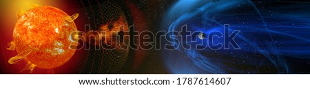 Magnetic lines of force surrounding Earth known as the magnetosphere deflecting solar wind and radiation from the Sun. Elements of this image furnished by NASA. Royalty-Free Stock Photo #1787614607