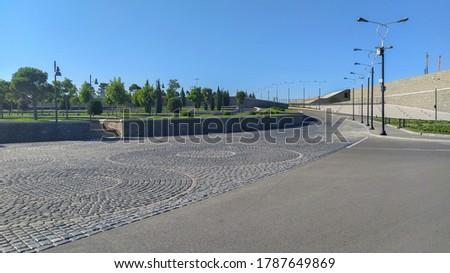 Street road scenery in Baku boulevard. Empty road inside of Baku boulevard #1787649869