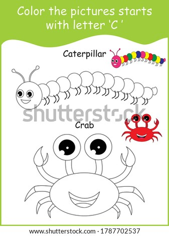 Color the picture,C for Caterpillar, C for crab,color the caterpillar,color the crab,coloring page,kids coloring practice,letters C,worksheet,vector design