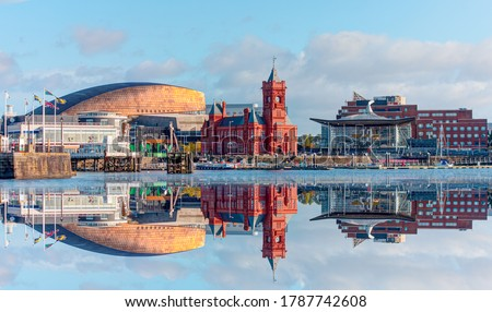 Panoramic view of the Cardiff Bay - Cardiff, Wales Royalty-Free Stock Photo #1787742608