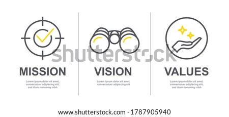 Mission, Vision and Values of company with text. Web page template. Modern flat design. Abstract icon. Purpose business concept. Mission symbol illustration. Abstract eye. Business presentation V4 #1787905940