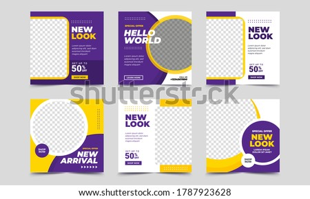 Set of Editable square banner template. purple and yellow background color with stripe line shape. Suitable for social media post, instagram, facebook and web internet ads. Vector illustration Royalty-Free Stock Photo #1787923628