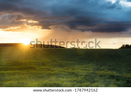 Rural landscape. Golden sunset over the field. The sun's rays and huge storm clouds create an incredible mood. Horizontal photo. #1787942162