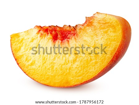 Nectarine or peach, slice, isolated on white background, clipping path, full depth of field Royalty-Free Stock Photo #1787956172