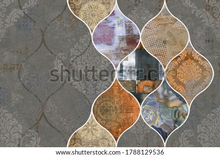 Wall Decor, Digital Wall Tiles Design, Wall tiles Decor on Marble For Home Decoration, 3D illustration can be used for wallpaper, linoleum, textile, web page background. - 3D Illustration