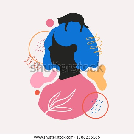 Abstract vector illustration with blue hair woman portrait, black cat silhouette and minimal doodle elements. Modern trendy female print design, collage graphic art, home decoration poster