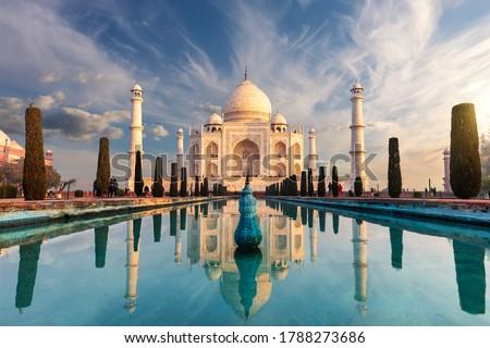 Famous Taj Mahal, wonderful sight of India, Agra Royalty-Free Stock Photo #1788273686