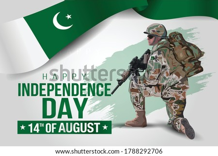 illustration of 14th of august background for Happy Independence Day of Pakistan. a soldier with gun and flag. Vector illustration.