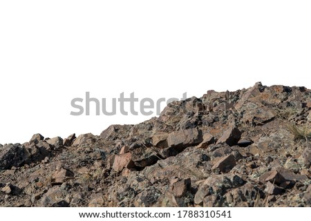 Rock mountain slope foreground close-up isolated on white background. Element for matte painting, copy space. Royalty-Free Stock Photo #1788310541