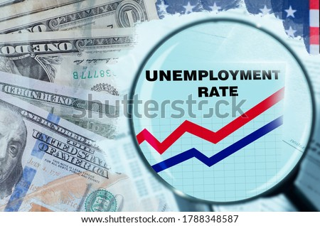 USA unemployment rate. Unemployment in America due to financial crisis. Magnifying glass over unemployment. Growth of applications for benefits. Company ruin led to layoffs. Dollars. Job loss in USA Royalty-Free Stock Photo #1788348587
