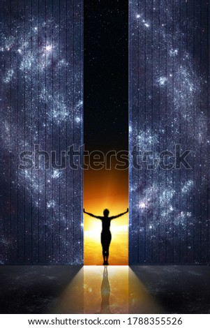 Expand boundaries concept. Woman silhouette opens the gate from starry night room into the sunrise. Elements of this image furnished by NASA. Royalty-Free Stock Photo #1788355526