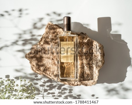 Mockup geometric shape stone podium with glass perfume bottle top view. Stone shape with gypsophila flowers shades over white background. Flat lay. Can use as perfume and cosmetic mock up