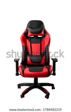 black and red comfortable gaming chair. isolated on a white background. furniture for computer gamers. #1788482219