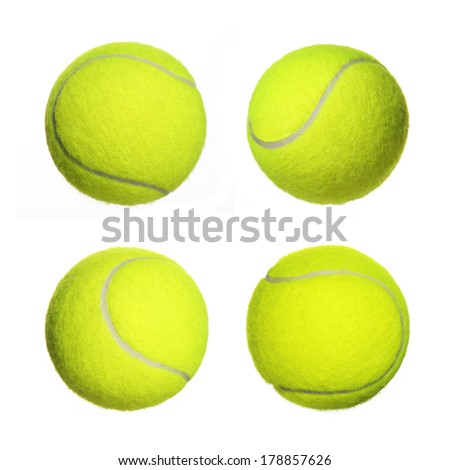 Tennis Ball Collection isolated on white background. Closeup #178857626