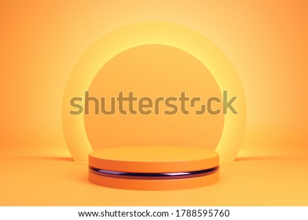 Orange podium and minimal abstract background for Halloween, 3d rendering geometric shape, Stage for awards on website in modern. #1788595760